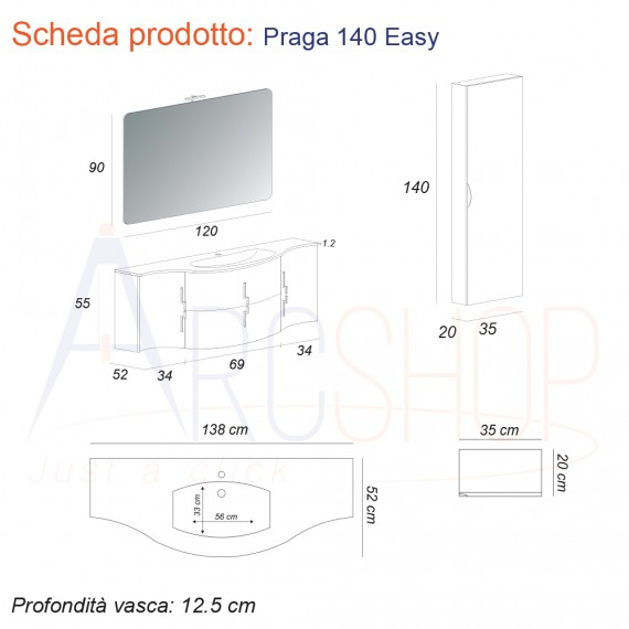 Mobile da bagno bianco lucido sospeso 140 cm ad onda con cassettoni soft close specchio applique LED e colonna