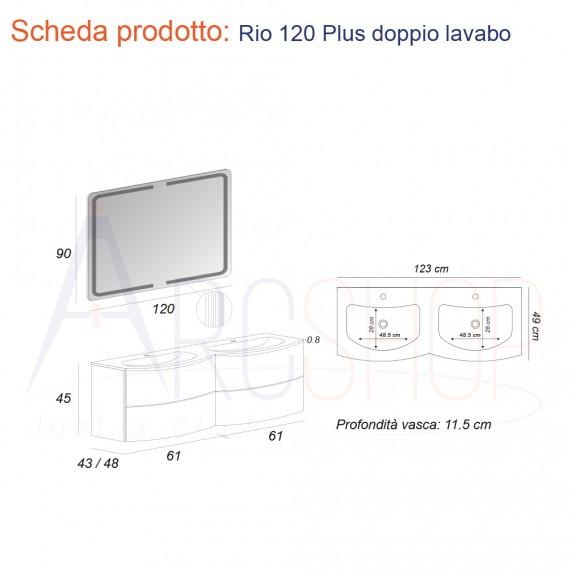 Mobile da Bagno Sospeso 120 cm Bianco con Doppio Lavabo, Cassettoni e Specchio - Mod. Rio