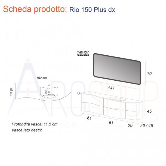 Mobile da Bagno Sospeso 150 cm Bianco Ondulato con Cassettoni, Lavabo e Specchio - Mod. Rio