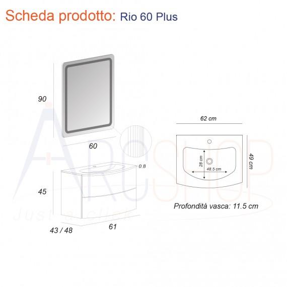 Mobile da Bagno Sospeso 60 cm colore Rovere con Cassettoni, Lavabo e Specchio - Mod. Rio