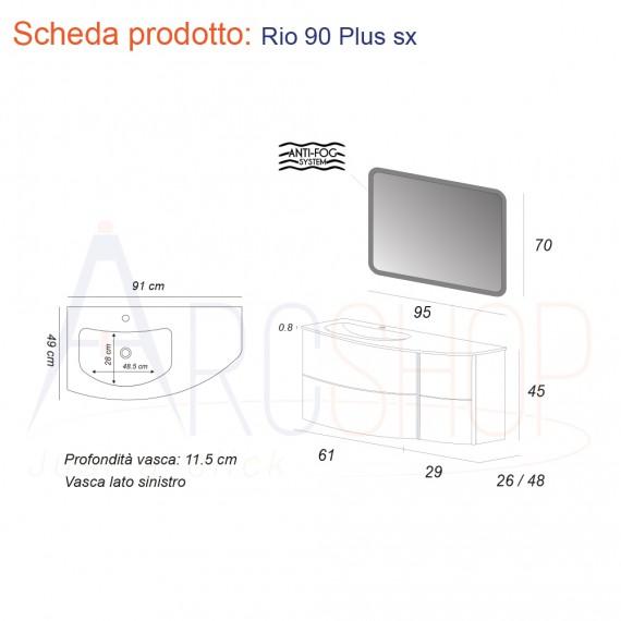 Mobile da Bagno Sospeso 90 cm Curvo con Lavabo in Pietra, Cassettoni e Specchio - Mod. Rio
