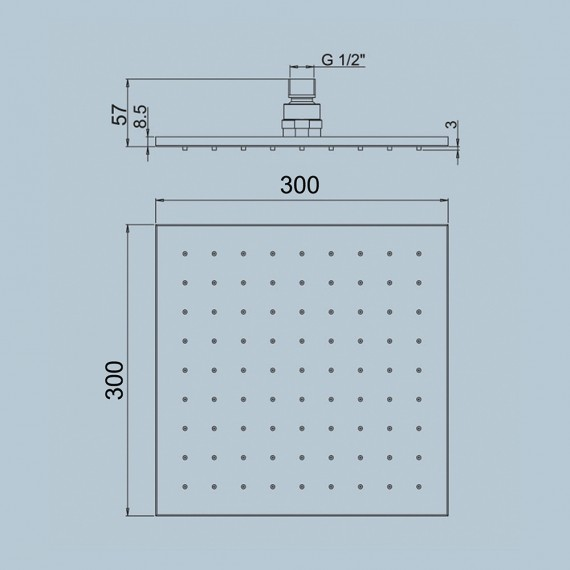 Soffione Doccia Jacuzzi Ispezionabile 30X30 Quadrato