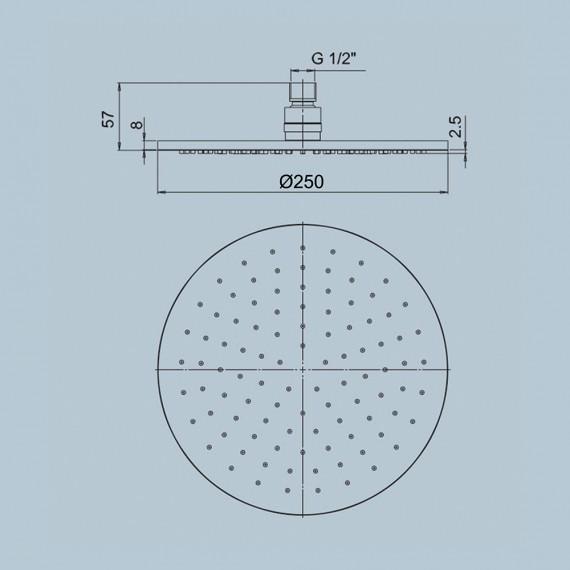 Soffione Jacuzzi | rubinetteria ispezionabile in ottone tondo anticalcare diametro 25 cm 1811057JA00