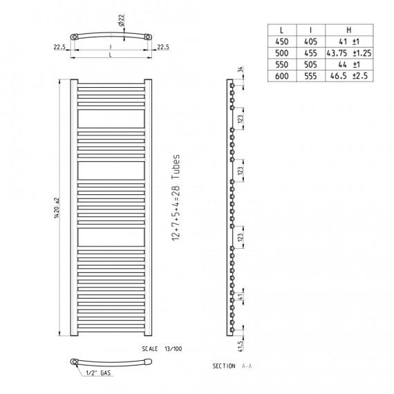 Lazzarini termoarredo curvo cromo 1420X500 mm Sanremo combinato 386529