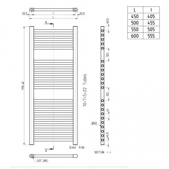 Lazzarini termoarredo dritto bianco 1110X500 mm combinato Sanremo 386475