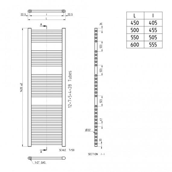Lazzarini termoarredo dritto cromo 1420X500 mm combinato idraulico o elettrico Sanremo 386496