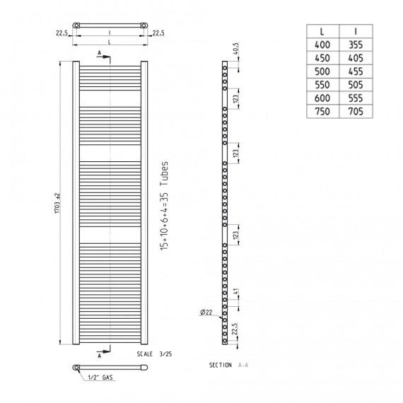 Lazzarini termoarredo dritto bianco combinato 1703x450 mm Sanremo 386482
