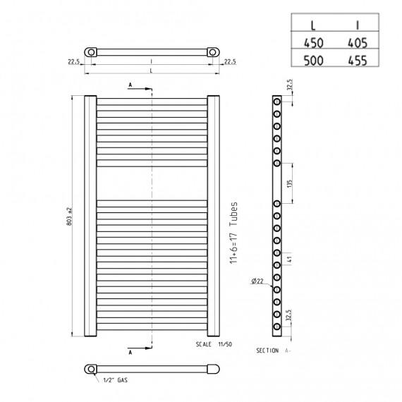 Lazzarini scaldasalviette termoarredo 803X500 mm dritto bianco combinato 100982