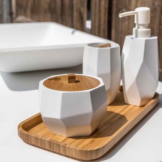 Set accessori 6 pezzi surface Bamboo di Cipì Dispenser Bicchiere Porta sapone Vassoio Scopino e Porta cotone