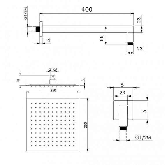 Kit doccia nero opaco soffione slim ultrapiatto quadrato da 25 cm