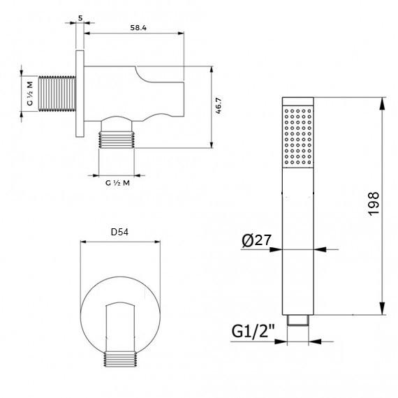 Kit doccia nero opaco soffione ultrapiatto slim tondo da 25 cm