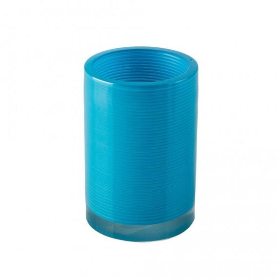 Set accessori 4 pezzi Dispenser Bicchiere Porta sapone e Scopino serie Billy Blue di Cipì