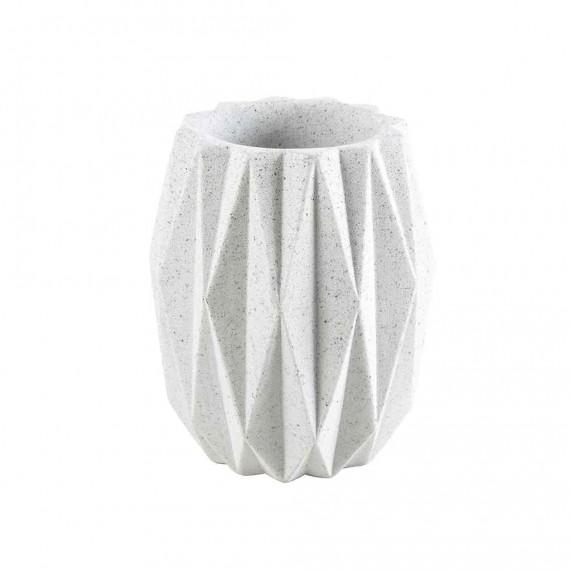 Set accessori da appoggio 4 pezzi Geo White di Cipì Dispenser Bicchiere Porta sapone e Scopino