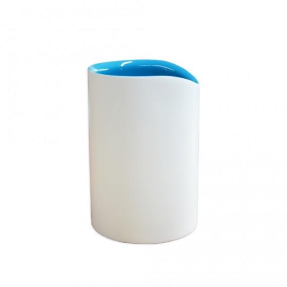Bicchiere porta spazzolini in resina bicolore bianco e blu serie Idol di Cipì