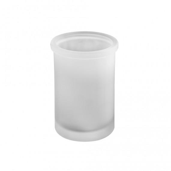 Set accessori 3 pezzi in vetro satinato serie Pharmacy di Cipì Dispenser Bicchiere Porta sapone
