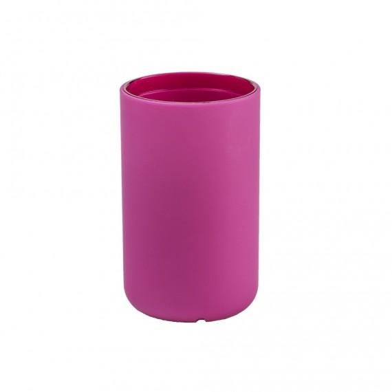 Set accessori da appoggio 3 pezzi Cipì serie True Colors fucsia Dispenser Bicchiere e Porta sapone