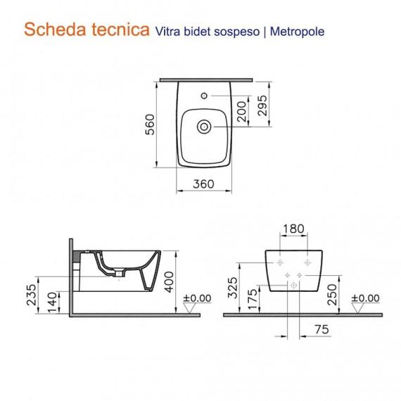 Metropole Vitra Sanitari wc e bidet bianco opaco sospesi