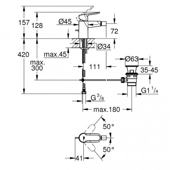 Grohe Bauedge - Miscelatore cromo per Bidet con piletta di scarico 23331000
