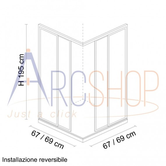 Box doccia 70X70 adattabile con profilo flat alluminio cromo lastra cristallo 6 mm due ante scorrevoli h 195
