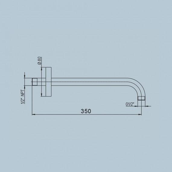 Braccio doccia a parte Jacuzzi rubinetteria nero opaco in ottone 35 cm con fissaggio rinforzato 1111072JAYO