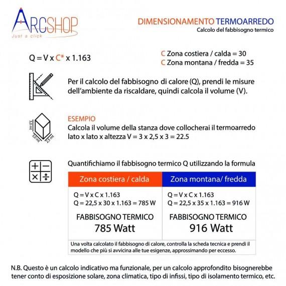 Termoarredo Lazzarini combinato curvo bianco 1703X500 mm Sanremo 386517