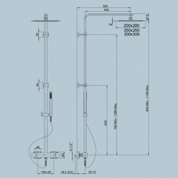 Colonna doccia Jacuzzi | rubinetteria Glint 96 soffione 25x25 cm con miscelatore termostatico ottone cromato 0IQ00199JA06