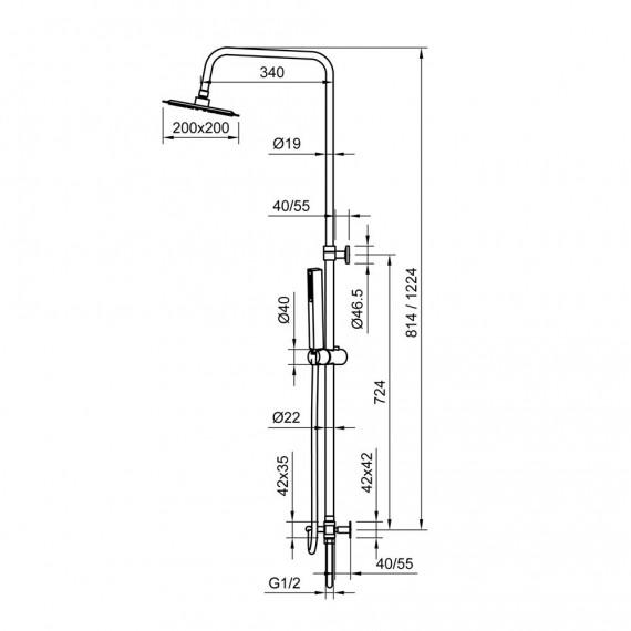 Colonna doccia regolabile in acciaio con deviatore integrato doccetta monogetto e soffione quadrato ultraslim 20X20 cm