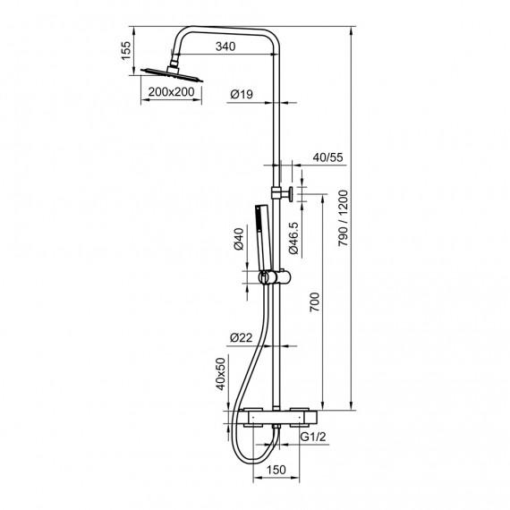 Colonna doccia tonda in acciaio regolabile con miscelatore termostatico doccetta anticalcare e soffione ultraslim 20X20 cm