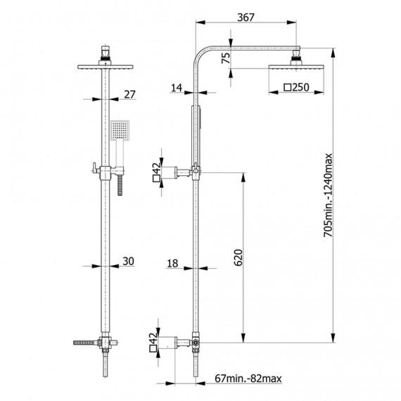 Colonna doccia a sezione rettangolare con deviatore doccetta anticalcare soffione INOX 25X25