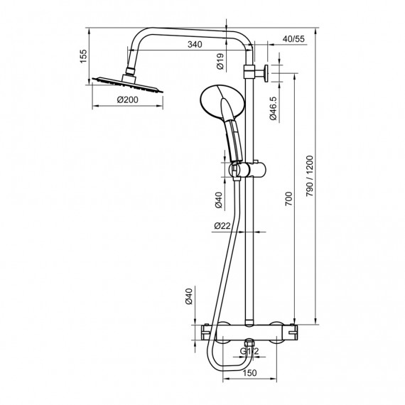 Colonna doccia tonda in acciaio regolabile con miscelatore termostatico doccetta 3 getti e soffione ultraslim 20 cm