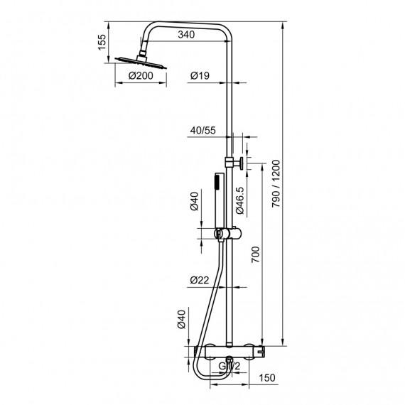 Colonna doccia tonda in acciaio regolabile con miscelatore termostatico doccetta monogetto e soffione ultraslim 20 cm