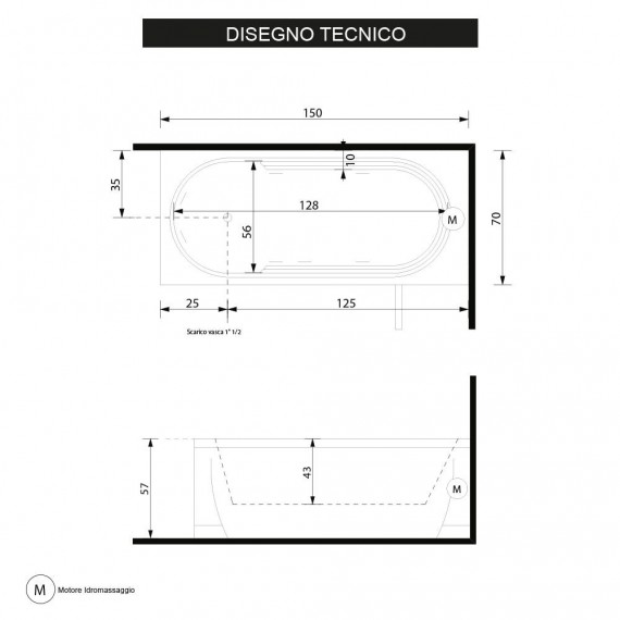 Vasca da bagno idromassaggio cm 150 x 70 x 57 h Cristina digitale Treesse