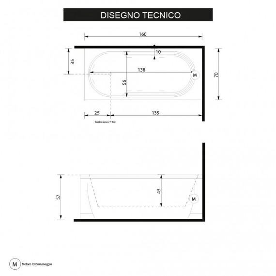 Vasca idromassaggio 160 cm Cristina di Gruppo Treesse impianto digitale