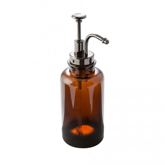 Set accessori 3 pezzi in vetro serie Pharmacy ambra di Cipì Dispenser Bicchiere Porta sapone