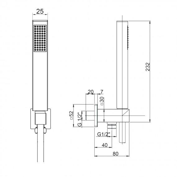 Jacuzzi | rubinetteria Kit doccia quadrato con presa acqua in ottone 0KC00904JA00