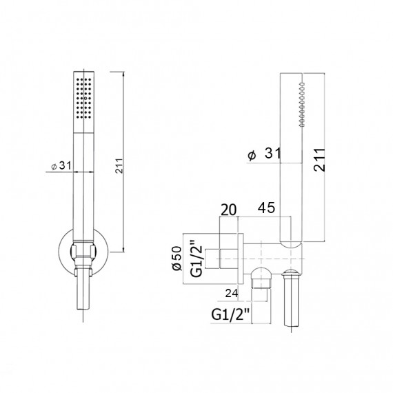 Duplex doccia a parete anticalcare tonda in ottone cromo Jacuzzi | rubinetteria diametro 2,4 cm 0KC00901JA00