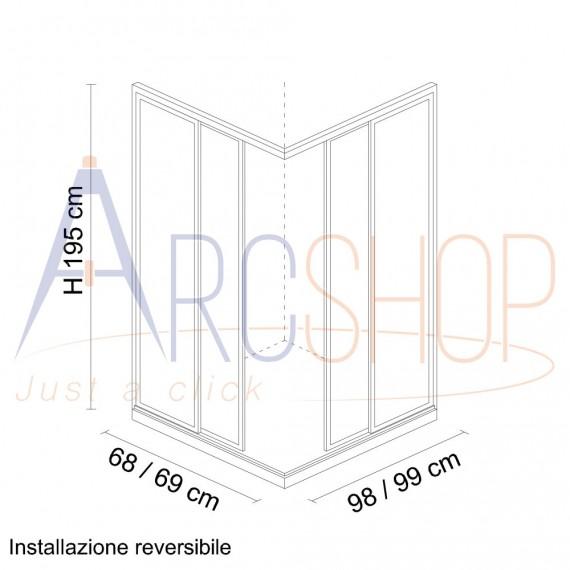 Box doccia 70X100 H195 da 6mm profilo in alluminio cromo vetro trasparente