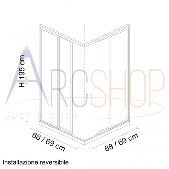Box doccia 70X70 H195 da 6mm profilo in alluminio cromo e cristallo trasparente