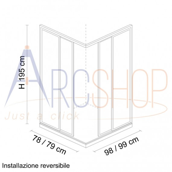 Box doccia 80X100 H195 da 6mm profilo in alluminio cromo e cristallo trasparente