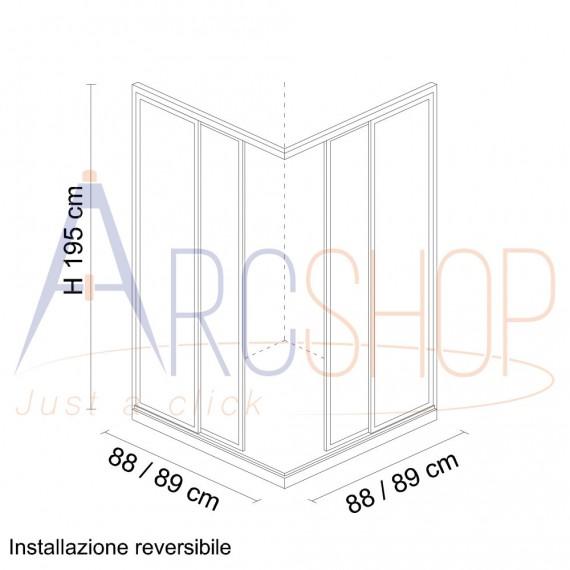 Box doccia 90X90 H195 da 6mm profilo in alluminio cromo e cristallo trasparente