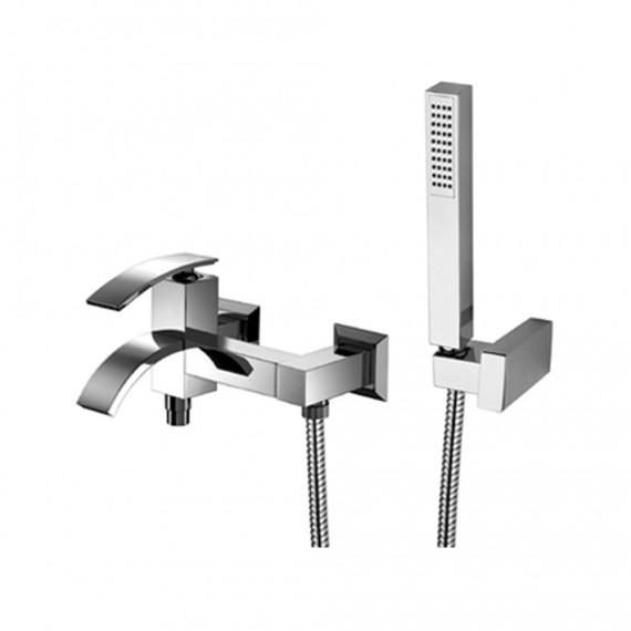 Set miscelatori lavabo alto + bidet + gruppo vasca Jacuzzi|rubinetteria Glint ottone cromato con PILETTA DI SCARICO INCLUSA