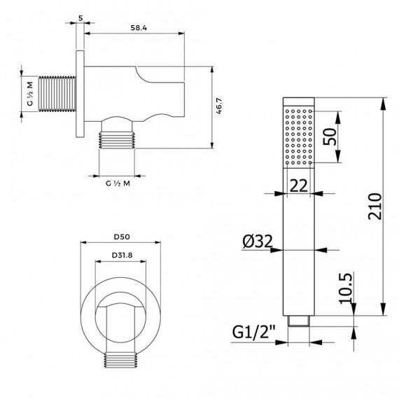 Set doccia completo composto da braccio a parete soffione ultraslim 20 cm tondo e doccino