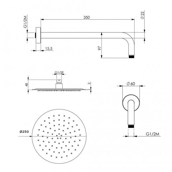 Kit doccia completo braccio a parete soffione ultrapiatto 25 cm tondo e doccino