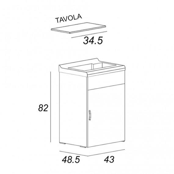 Mobile lavatoio bianco da 45 cm salvaspazio con tavola