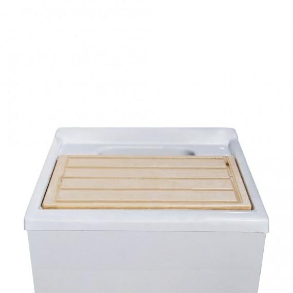 Mobile lavatoio bianco da 60 cm salvaspazio con tavola