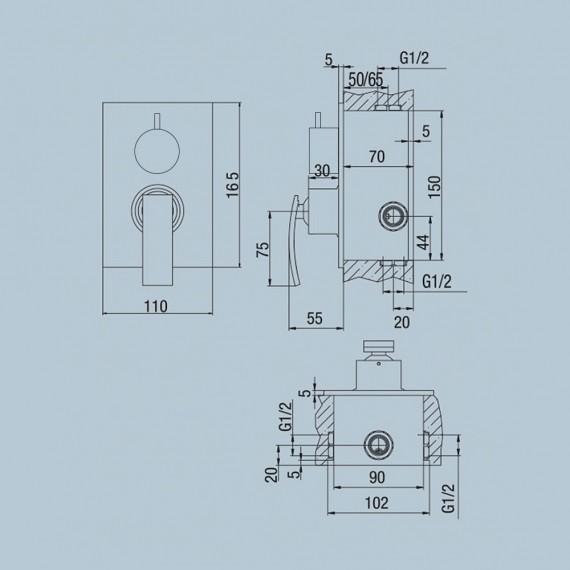 Miscelatore doccia incasso con deviatore monoleva Jacuzzi | rubinetteria Ray ottone cromato 0IO00400JA00