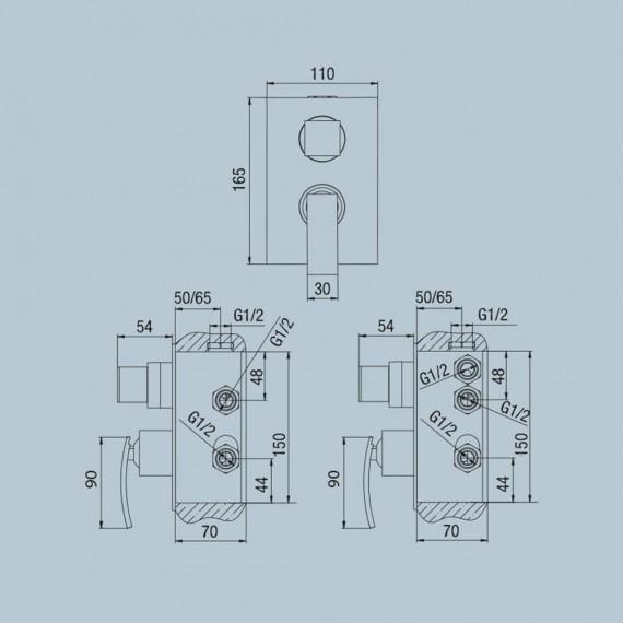 Set miscelatori lavabo alto + bidet + incasso doccia con deviatore Jacuzzi | rubinetteria Glint ottone cromato con PILETTA DI SCARICO INCLUSA