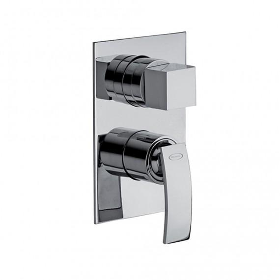 Set miscelatori lavabo + bidet + incasso doccia con deviatore Jacuzzi | rubinetteria Glint ottone cromato con PILETTA DI SCARICO INCLUSA