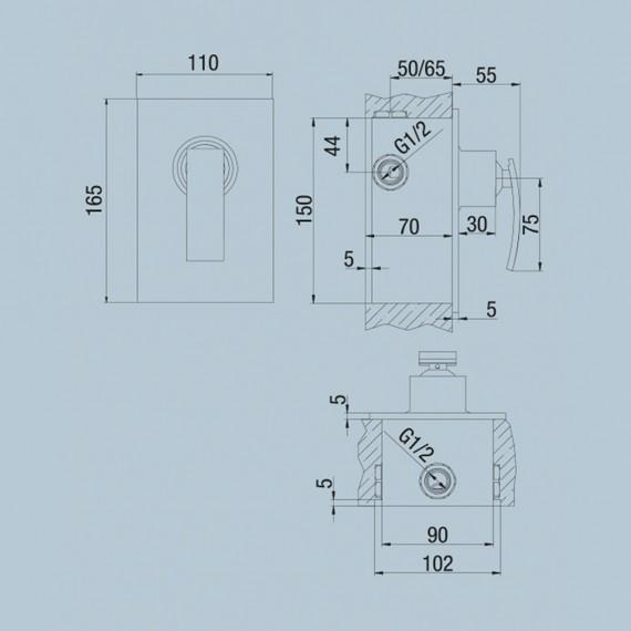 Set miscelatori lavabo + bidet + incasso doccia Jacuzzi | rubinetteria Ray ottone cromato con PILETTA DI SCARICO INCLUSA