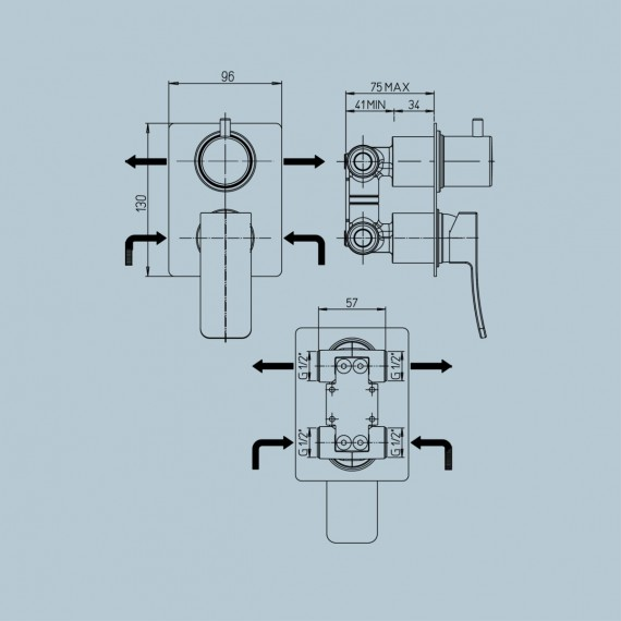 Miscelatore doccia incasso con deviatore monoleva Jacuzzi | rubinetteria Tank ottone cromato 0TN00400JA00
